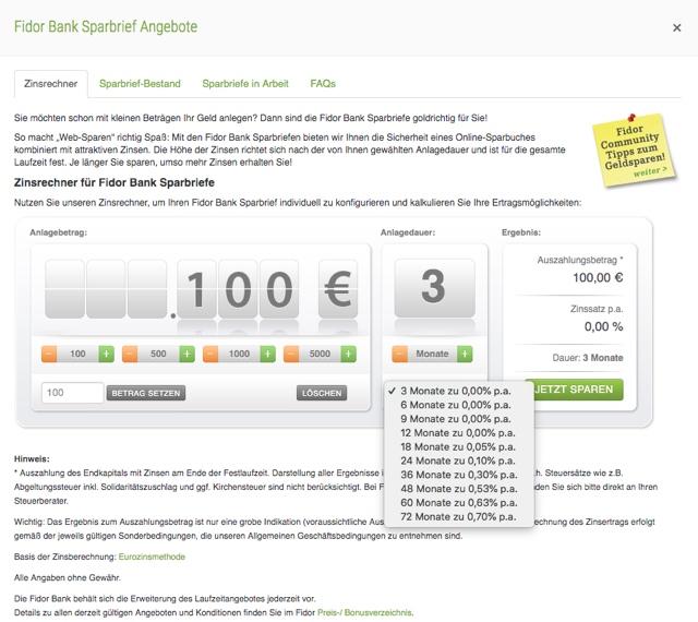Fidor Bank Sparbrief Angebot
