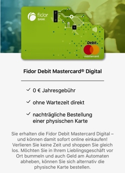 Fidor Debit Mastercard Digital
