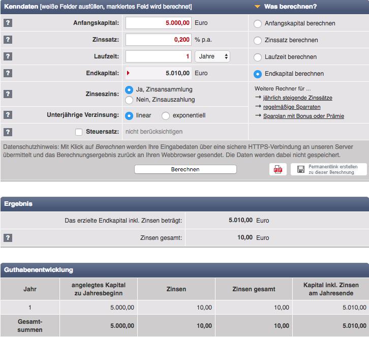 Zinsberechnung 5000€ mit 0,2% Zinsen